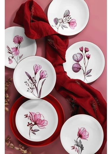 Kütahya Porselen Bloom Serisi 6 Parça Pasta Takımı Renkli